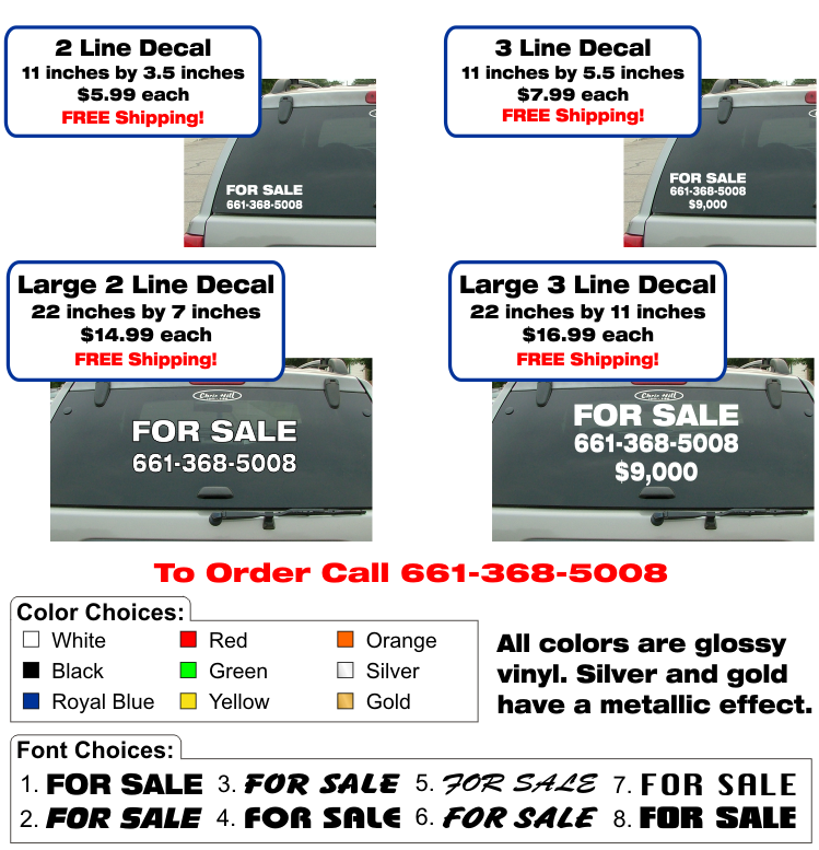 Vehicle For Sale Decals